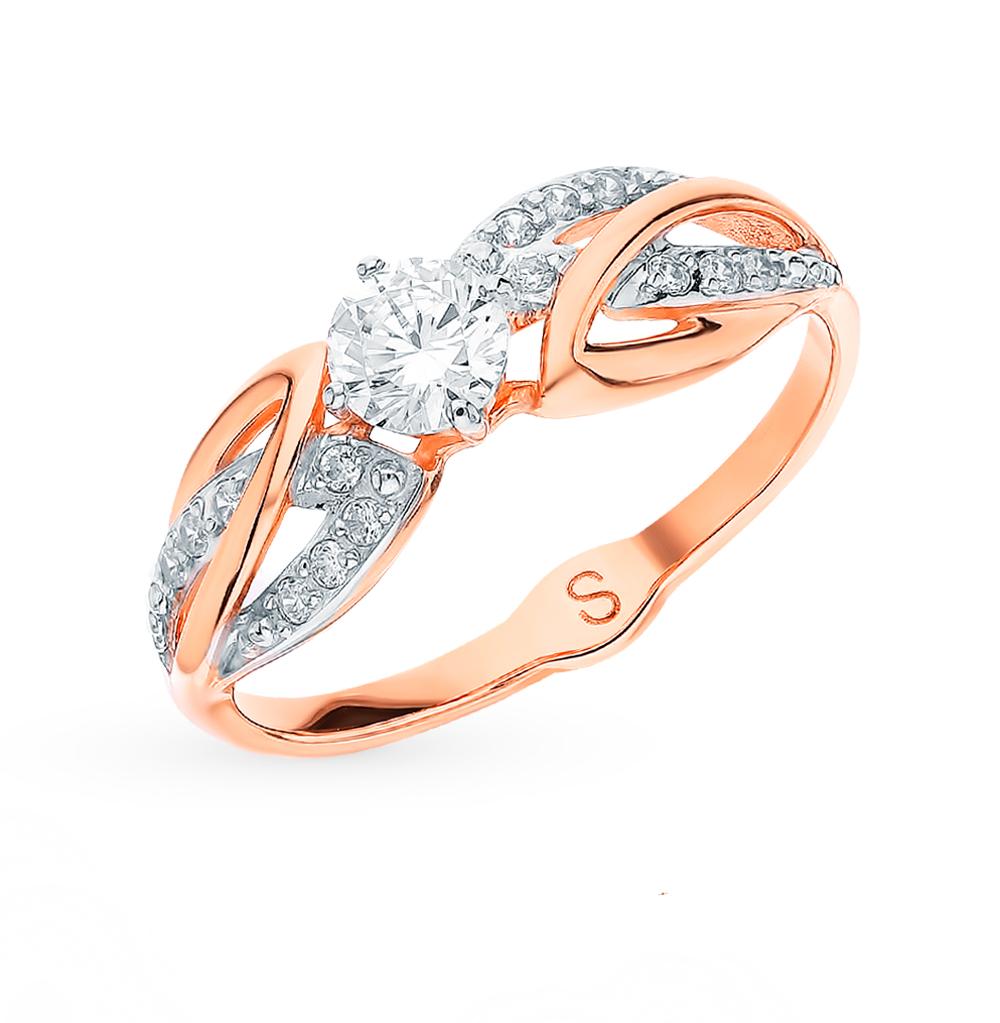 золотое кольцо с фианитами SOKOLOV 017887*