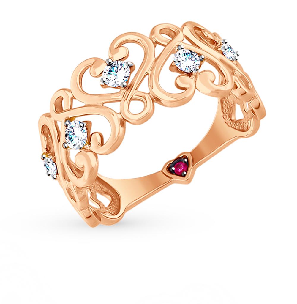 золотое кольцо с корундом и фианитами SOKOLOV 017534*