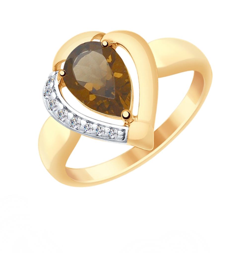 серебряное кольцо с раухтопазами и фианитами SOKOLOV 92011484