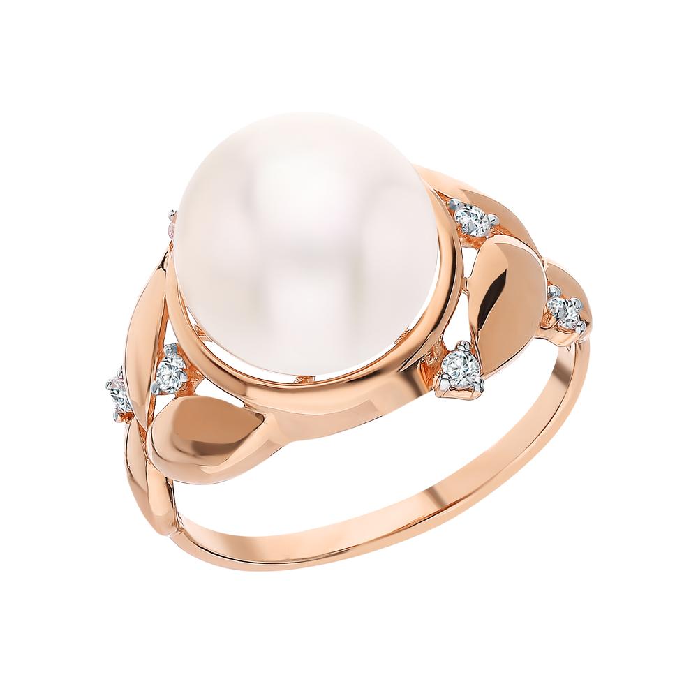 Золотое кольцо с фианитами и жемчугами культивированными в Санкт-Петербурге