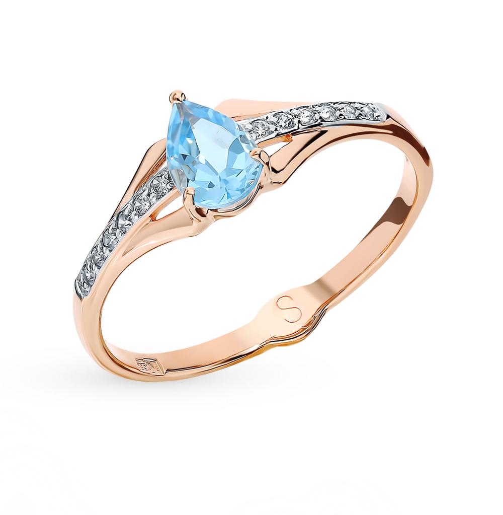 Золотое кольцо с топазом и фианитами SOKOLOV 715613* в Екатеринбурге
