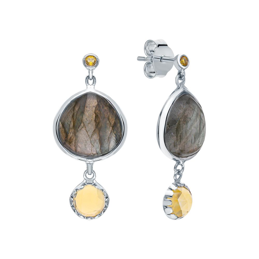 Фото «Серебряные серьги с цитринами и лабрадоритами»