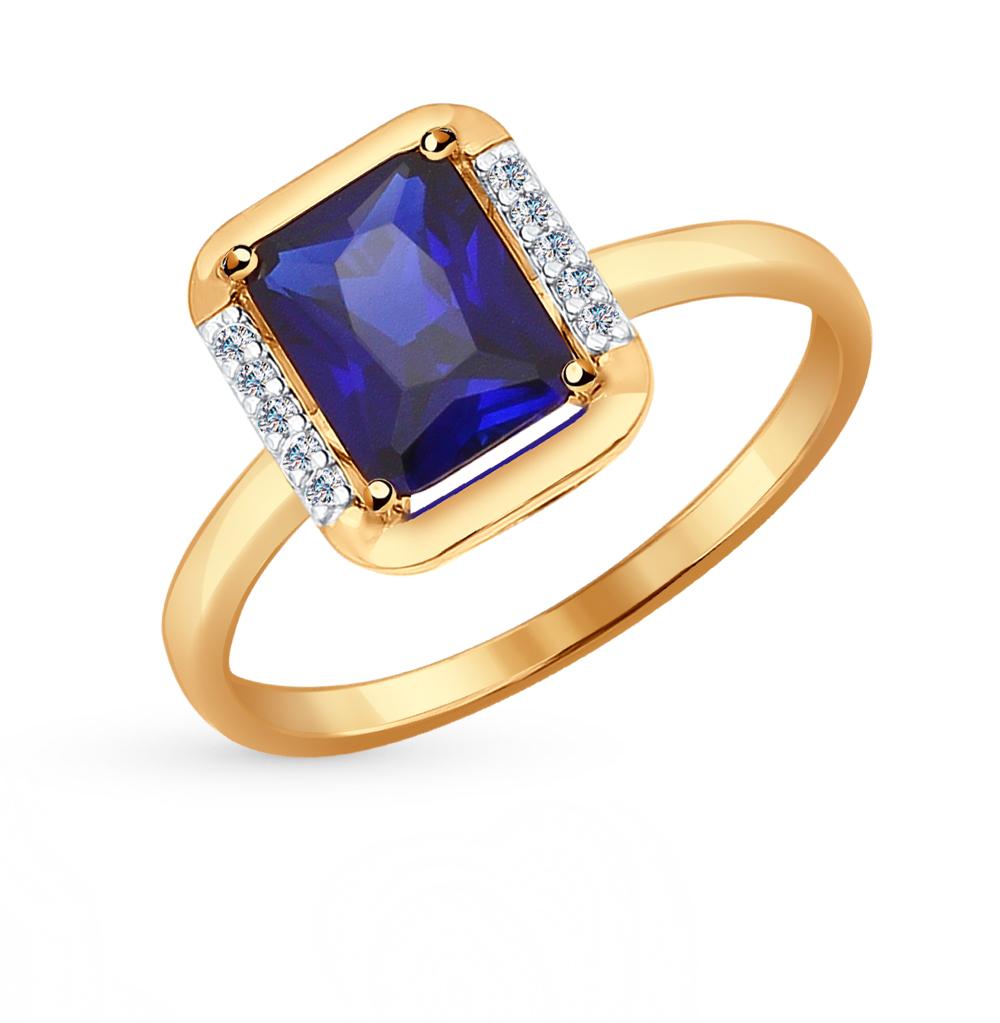 Фото «золотое кольцо с фианитами и корундами синтетическими»