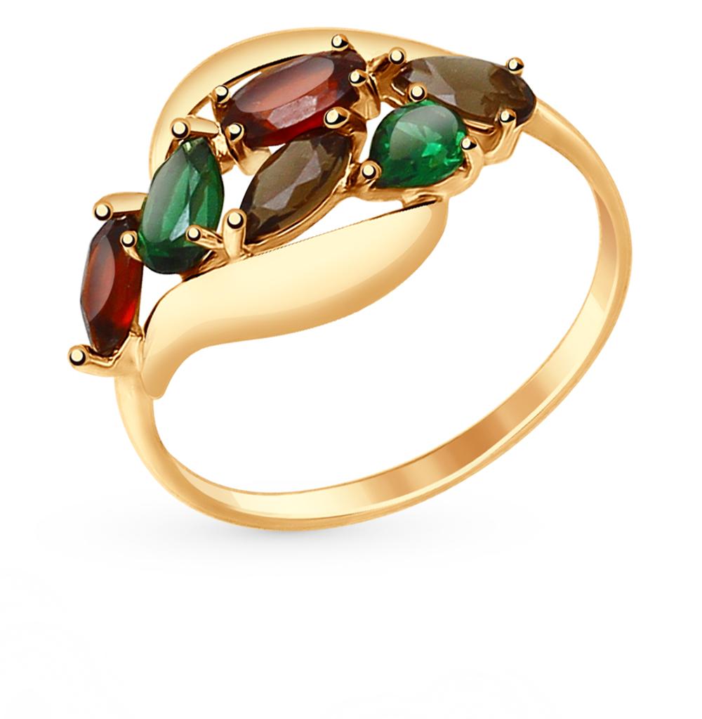 золотое кольцо с нанокристаллами, гранатом и раухтопазами (кварцами дымчатый) SOKOLOV 714690*