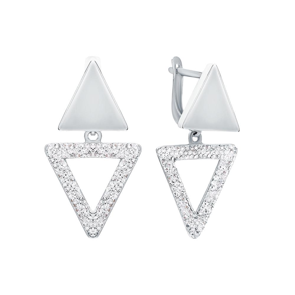 Серебряные серьги с ювелирным стеклом в Екатеринбурге