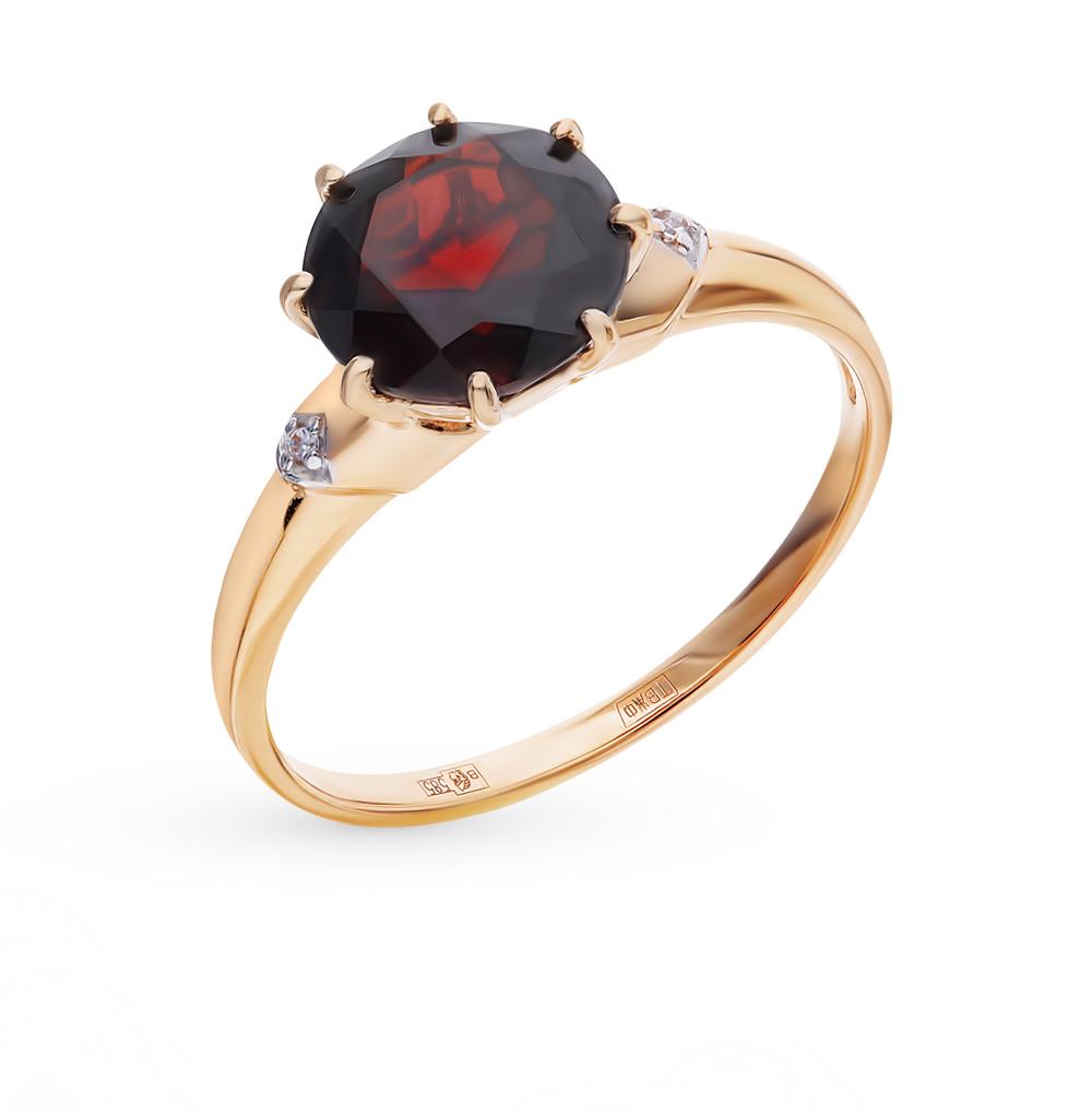 Фото «Золотое кольцо с фианитами и гранатом SOKOLOV 714005*»