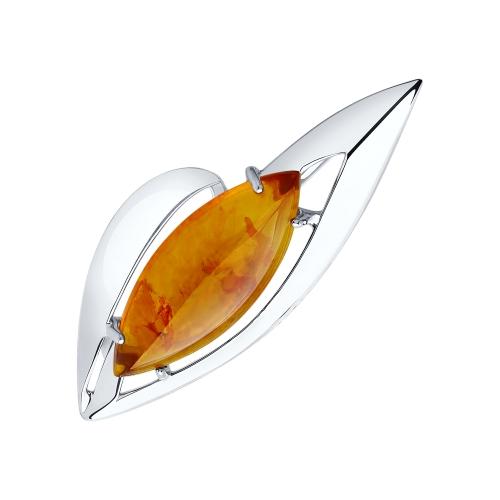Фото «Серебряная брошь с янтарем SOKOLOV 83040014»