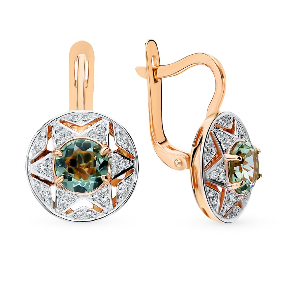 золотые серьги с празиолитами и бриллиантами