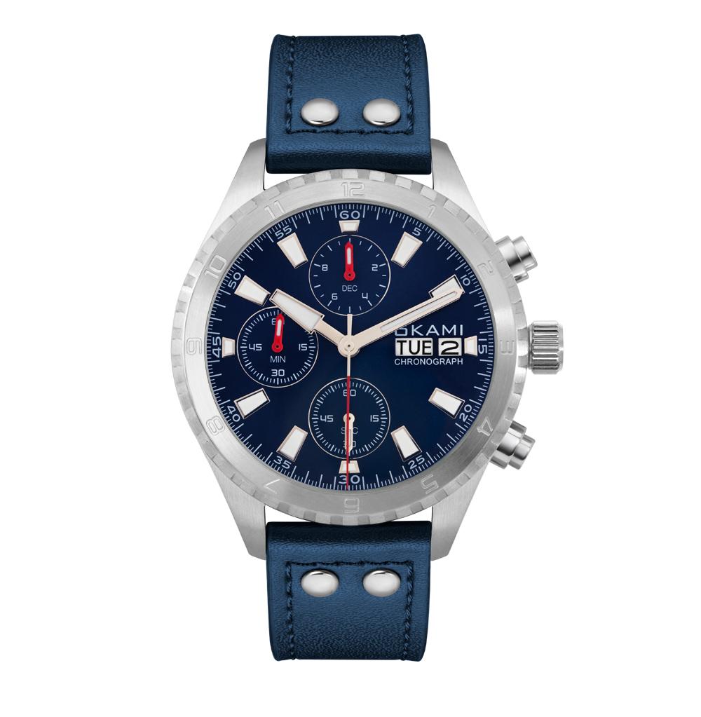 Мужские часы с хронографом и календарем на синем ремне из натуральной кожи
