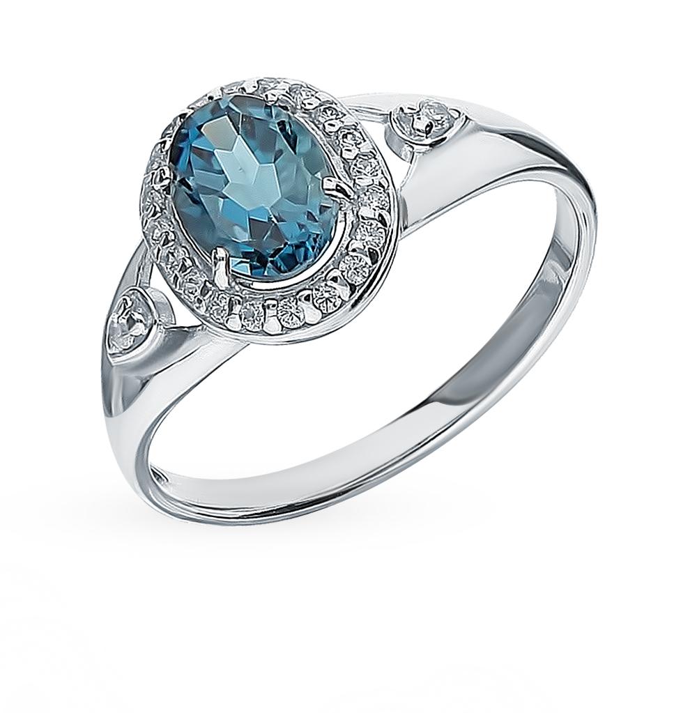 серебряное кольцо с топазами и фианитами SOKOLOV 92011545