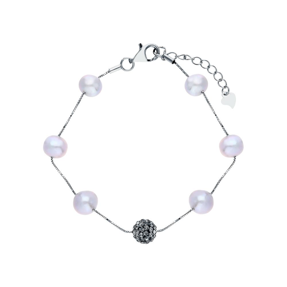 Фото «Стальной браслет с жемчугами культивированными и кристаллами swarovski имитациями»