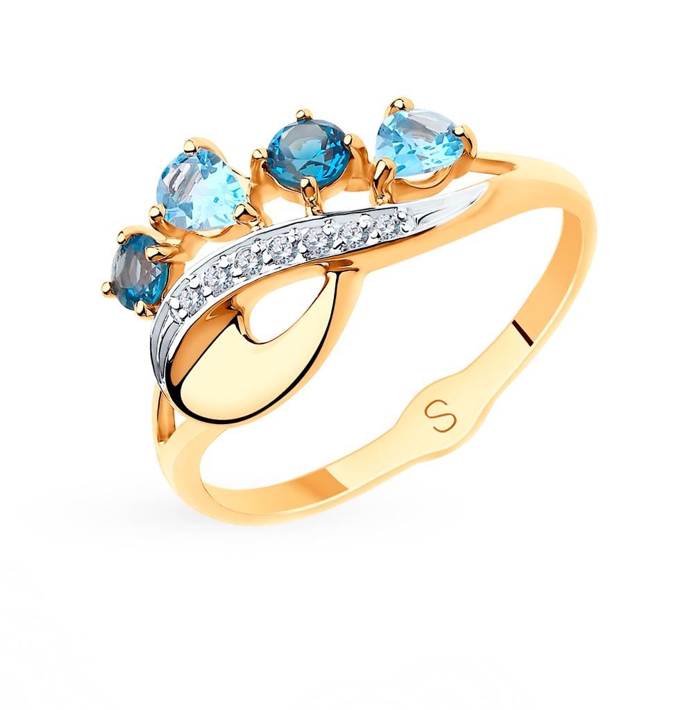 золотое кольцо с топазами и фианитами SOKOLOV 715550*