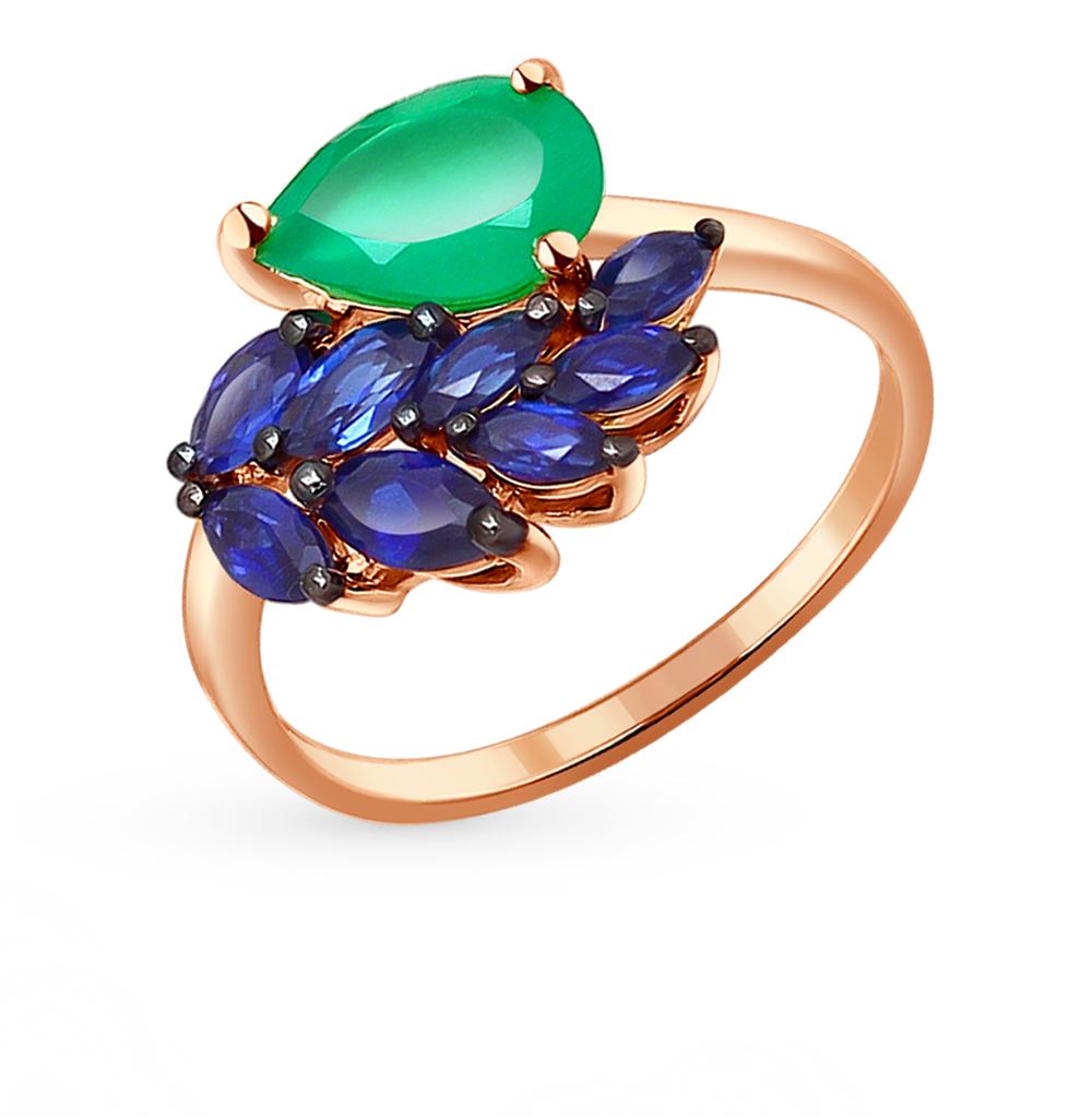 Фото «Золотое кольцо с корундом и агатом SOKOLOV 714154*»