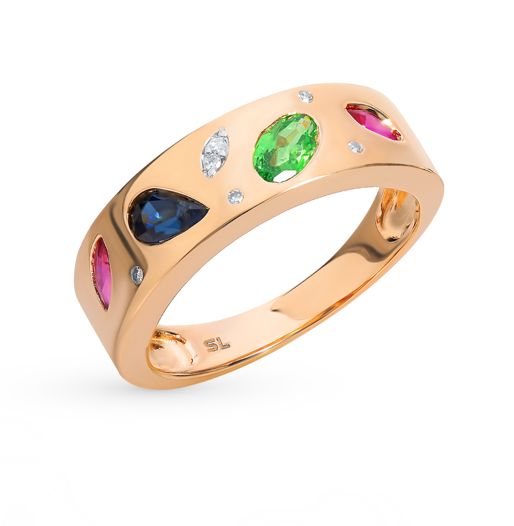 золотое кольцо с рубинами, сапфирами, цаворитами и бриллиантами
