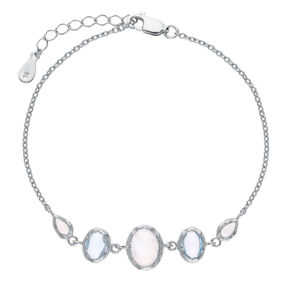 Фото «Серебряный браслет с топазами и лунными камнями»