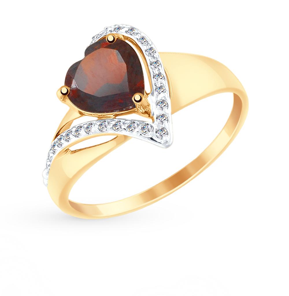 Фото «Золотое кольцо с фианитами и гранатом SOKOLOV 715041*»