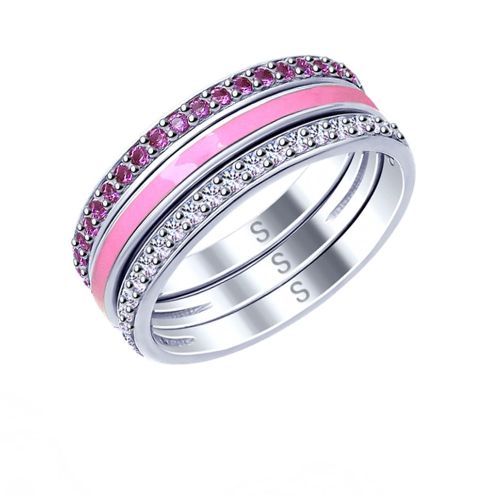 Фото «Серебряное кольцо с фианитами и эмалью SOKOLOV 94012684»
