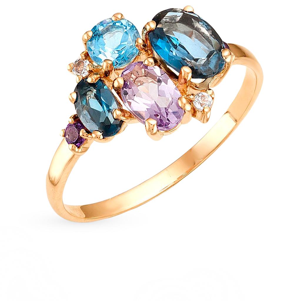Фото «кольцо с аметистом и топазами»