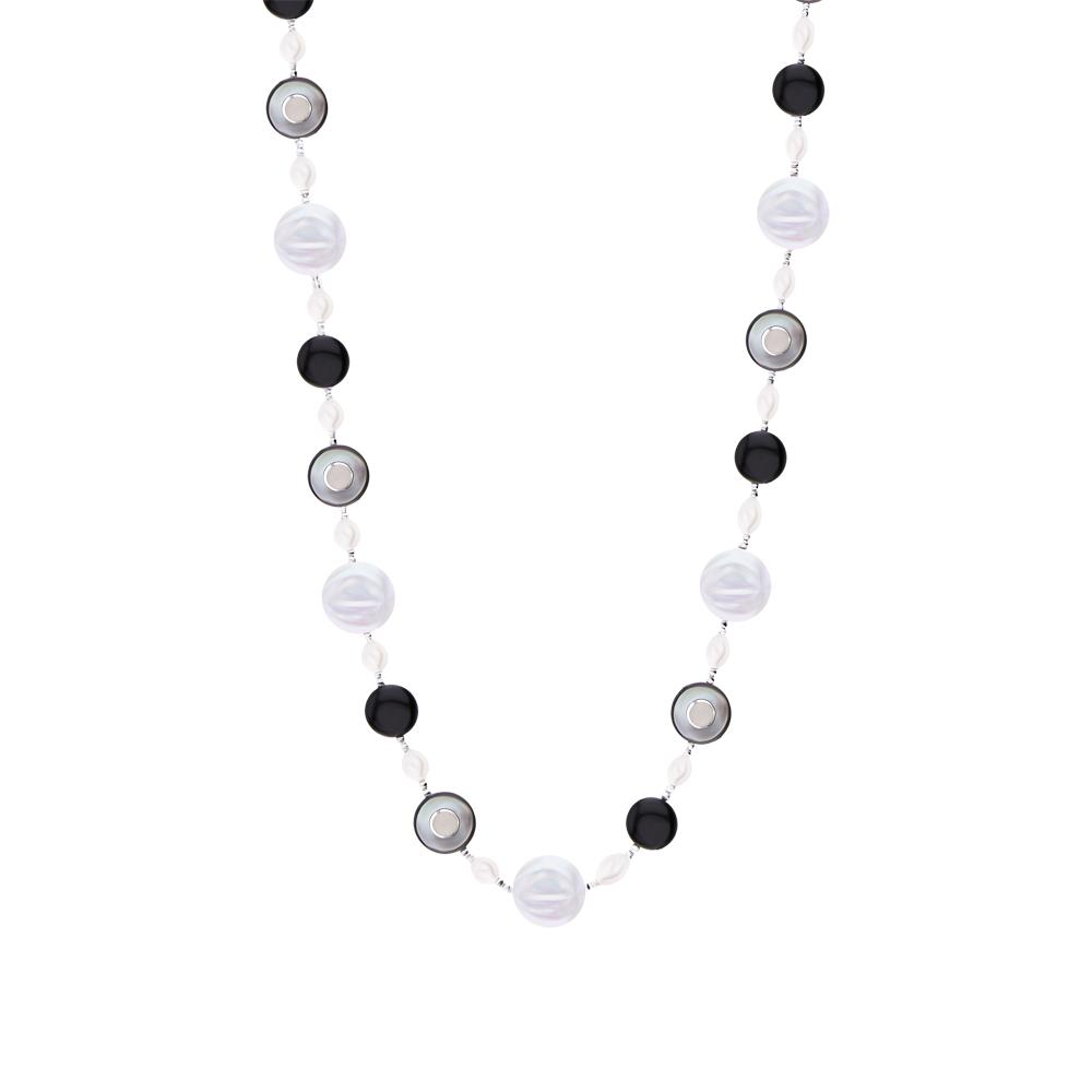 Фото «Серебряное шейное украшение с ониксом, жемчугом и ракушками»