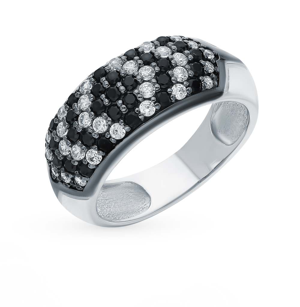 серебряное кольцо с фианитами