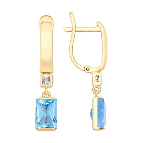 Фото «Золотые серьги с топазами и фианитами SOKOLOV 725601*»