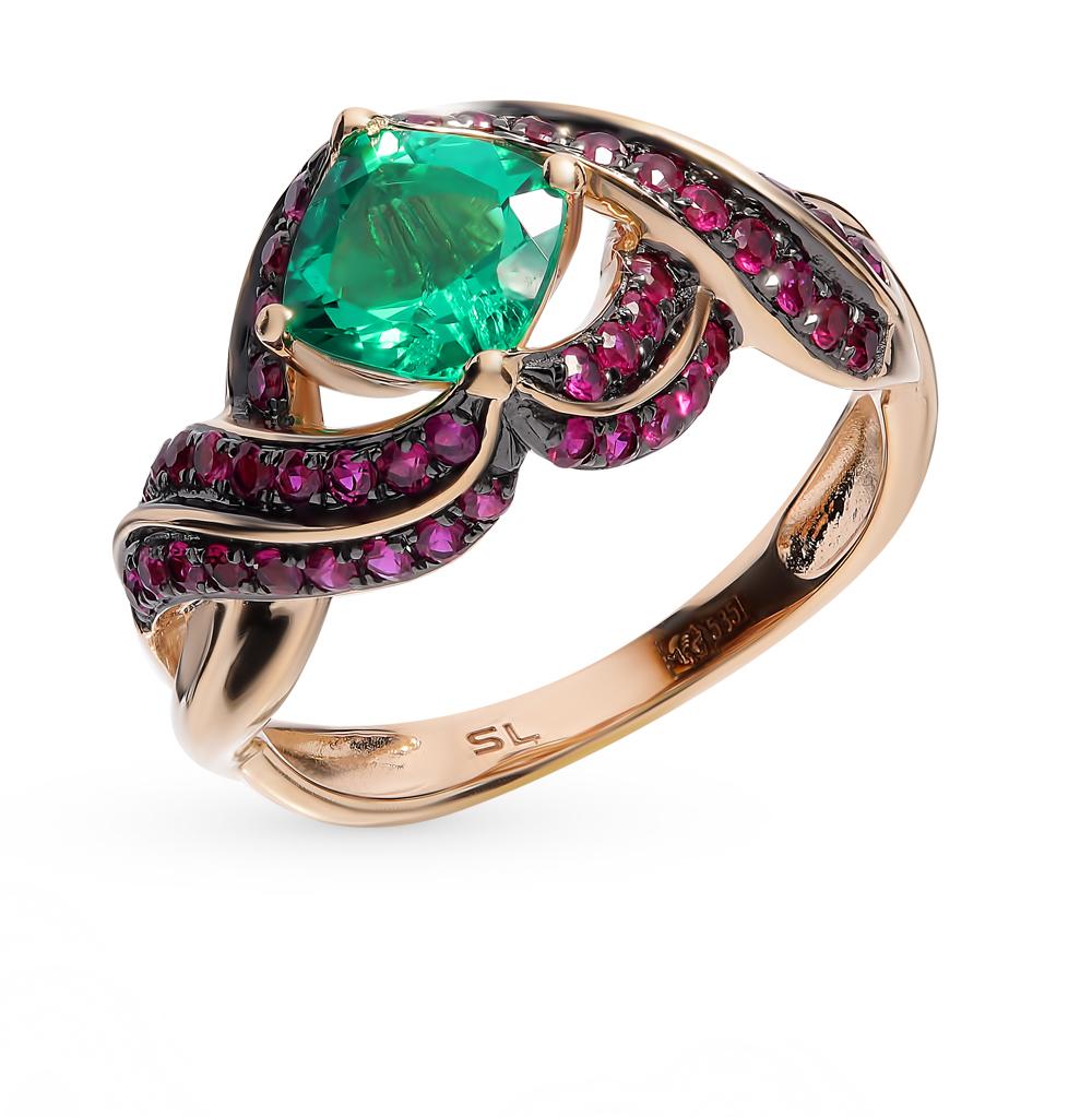 Фото «Золотое кольцо с рубинами и изумрудом»