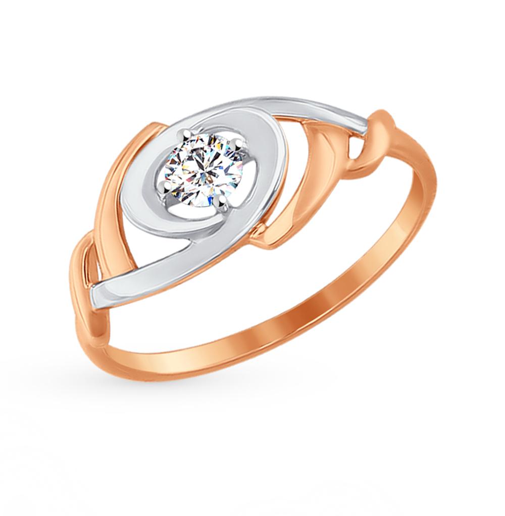 золотое кольцо с фианитами SOKOLOV 017305*