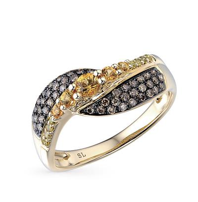 Фото «золотое кольцо с коньячными бриллиантами, сапфирами и бриллиантами»