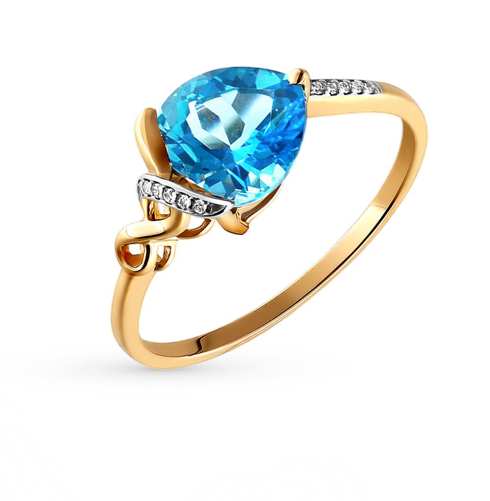 Фото «Золотое кольцо с топазами и фианитами SOKOLOV 713456*»