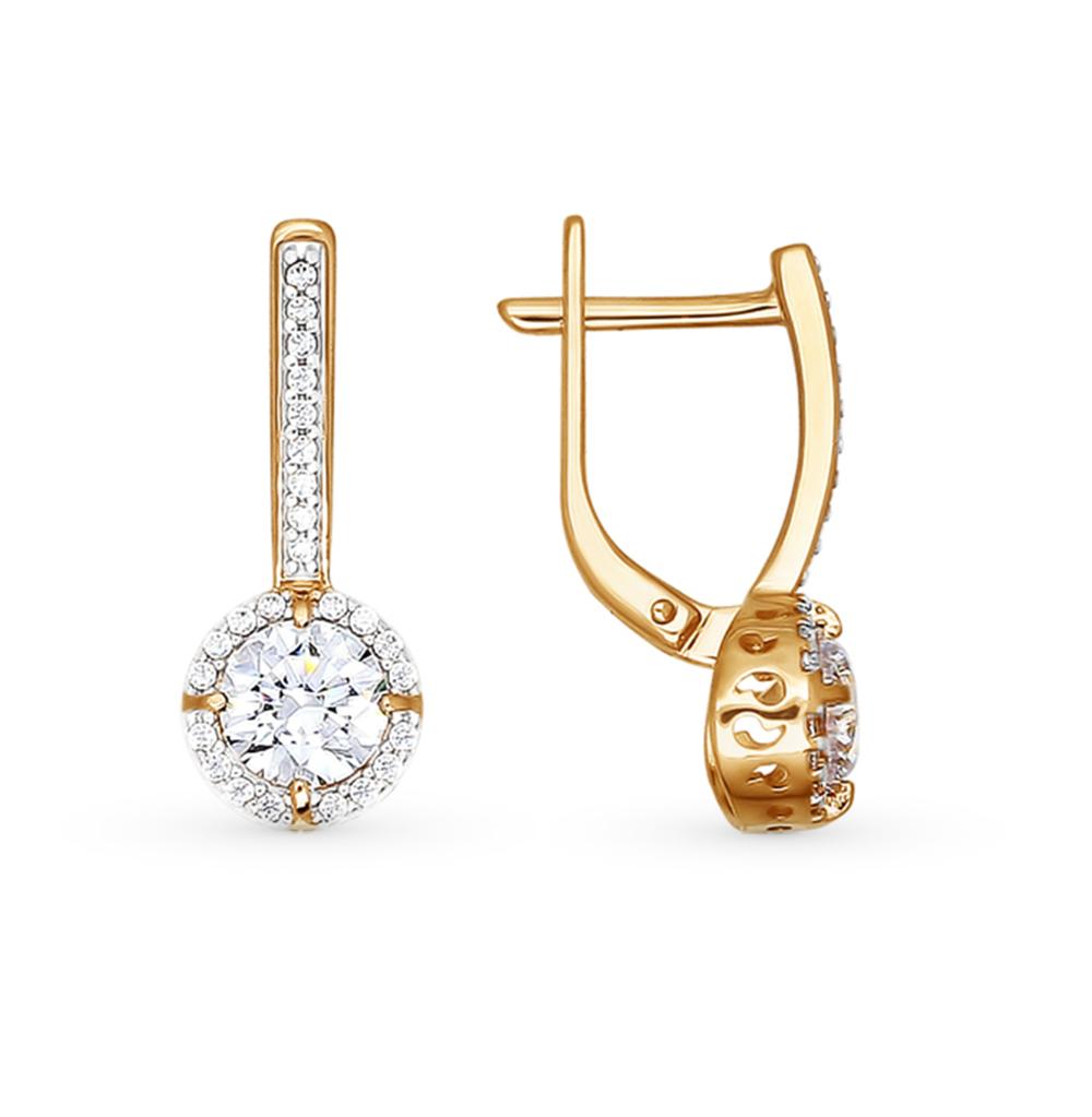 золотые серьги с кристаллами swarovski SOKOLOV 81020119*
