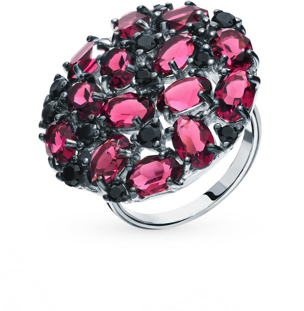 серебряное кольцо с фианитами и кристаллами swarovski SOKOLOV 94012682