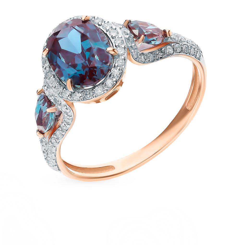 Золотое кольцо с александритом и бриллиантами в Санкт-Петербурге