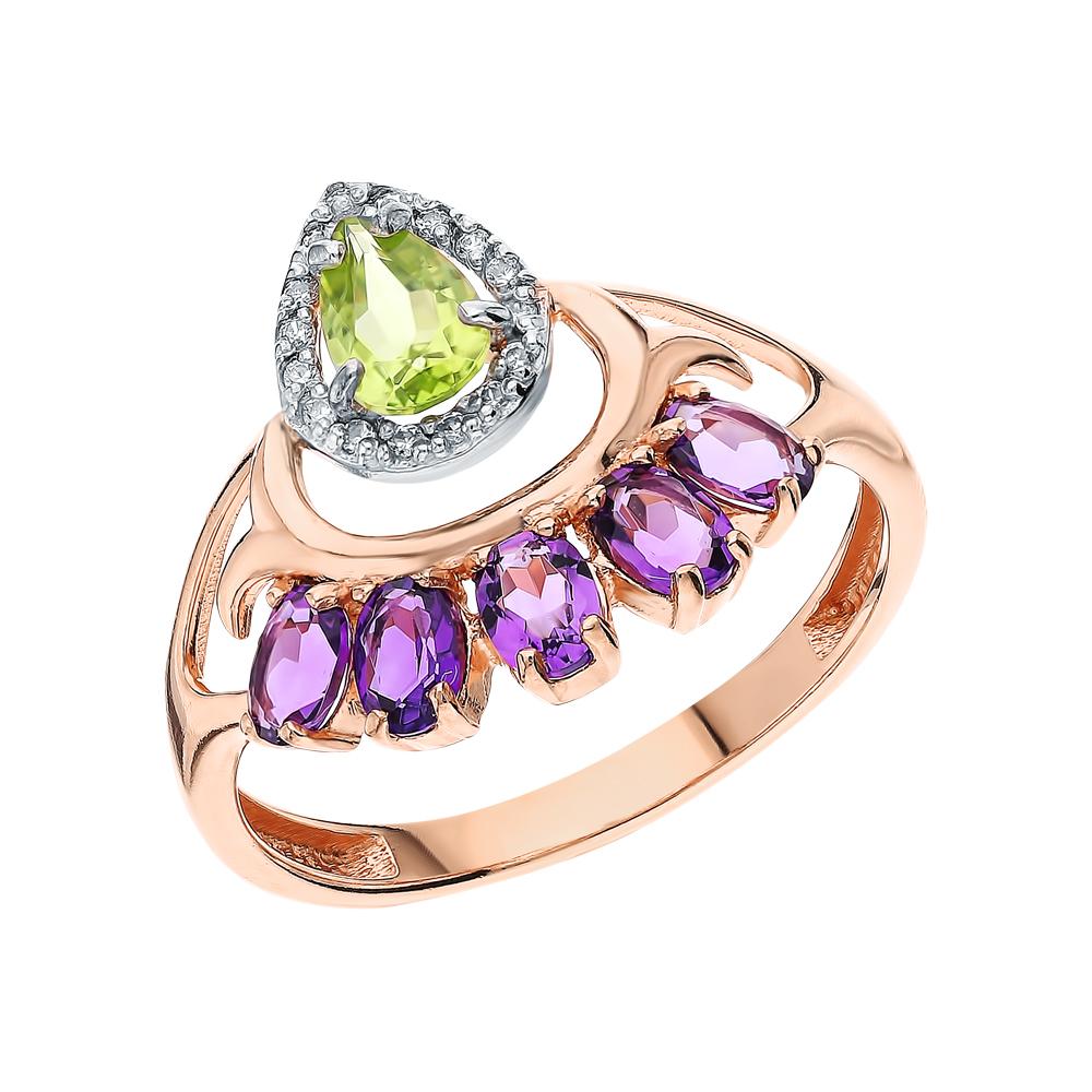 Фото «Серебряное кольцо с хризолитом, аметистом и фианитами»