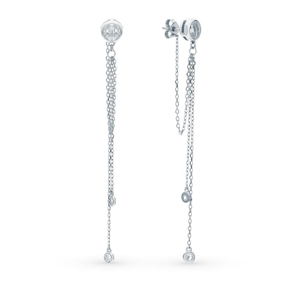 Фото «Серебряные серьги с фианитами и ювелирными стёклами»