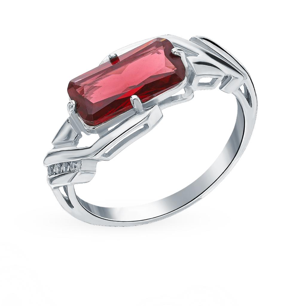 Фото «Серебряное кольцо с фианитами и гранатом»