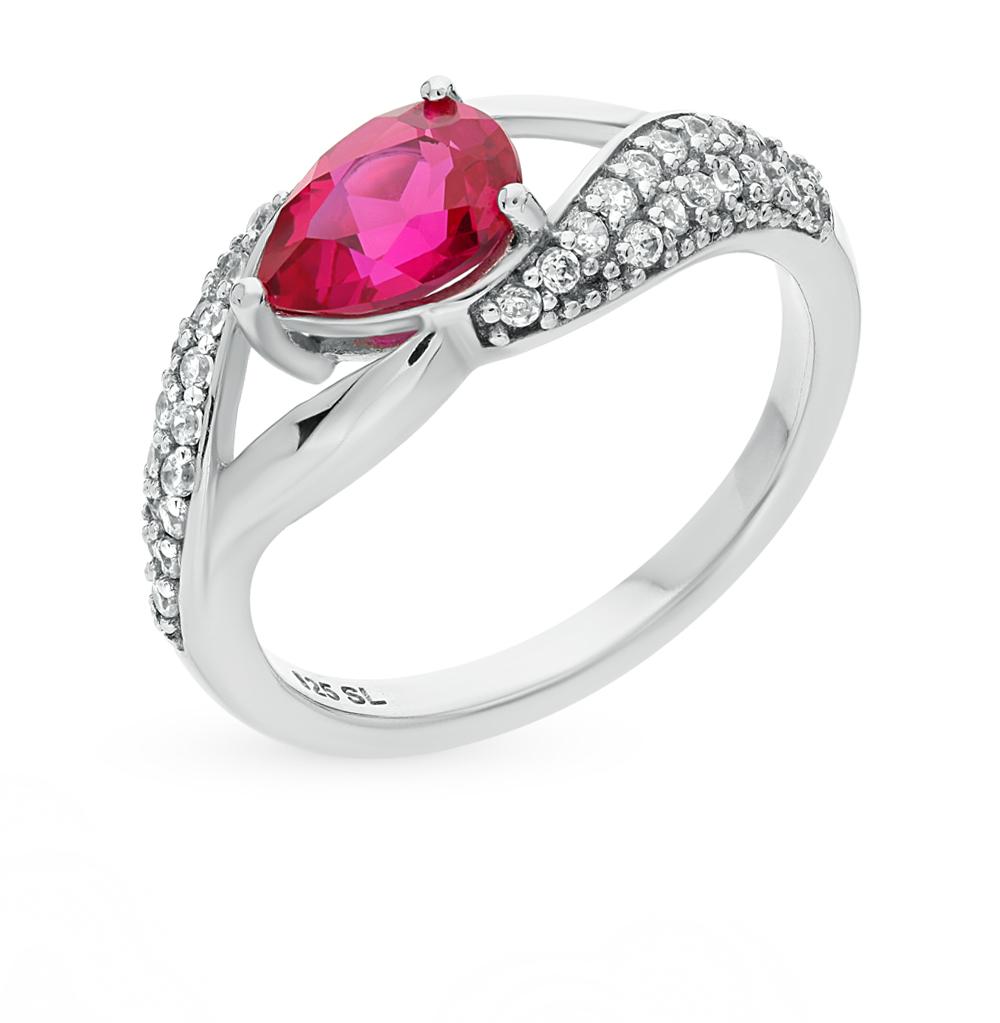 Фото «серебряное кольцо с фианитами и рубинами синтетическими»
