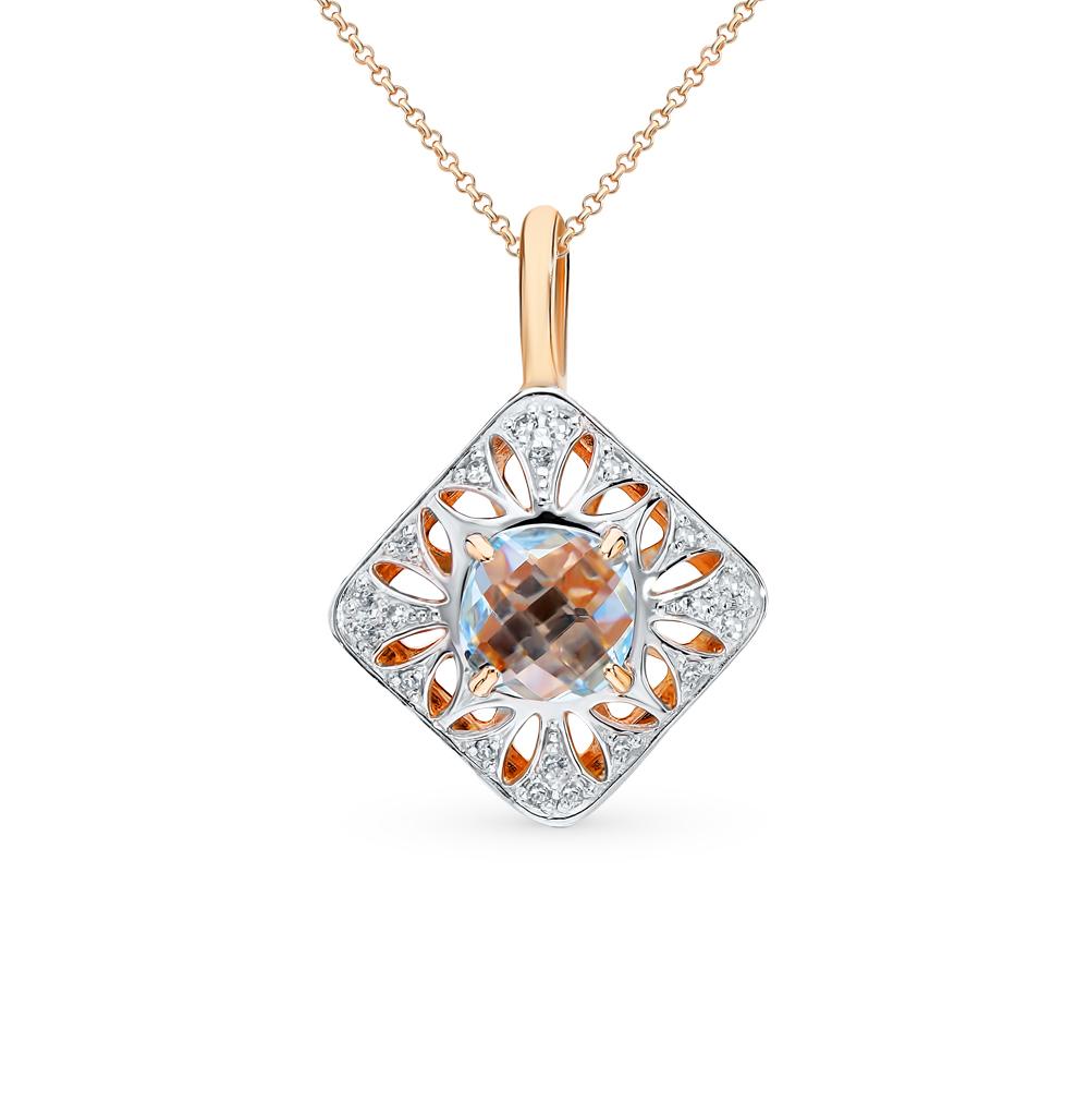 золотая подвеска с топазами и бриллиантами