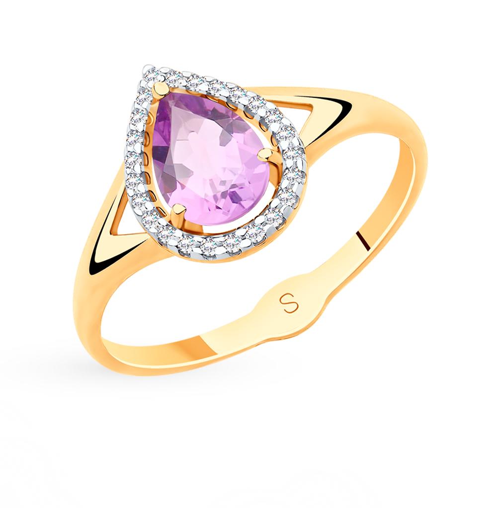 золотое кольцо с аметистом и фианитами SOKOLOV 715523*