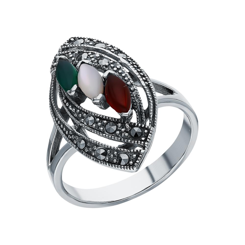 Фото «Серебряное кольцо с хризопразами, сердоликом, перламутром и марказитами swarovski»