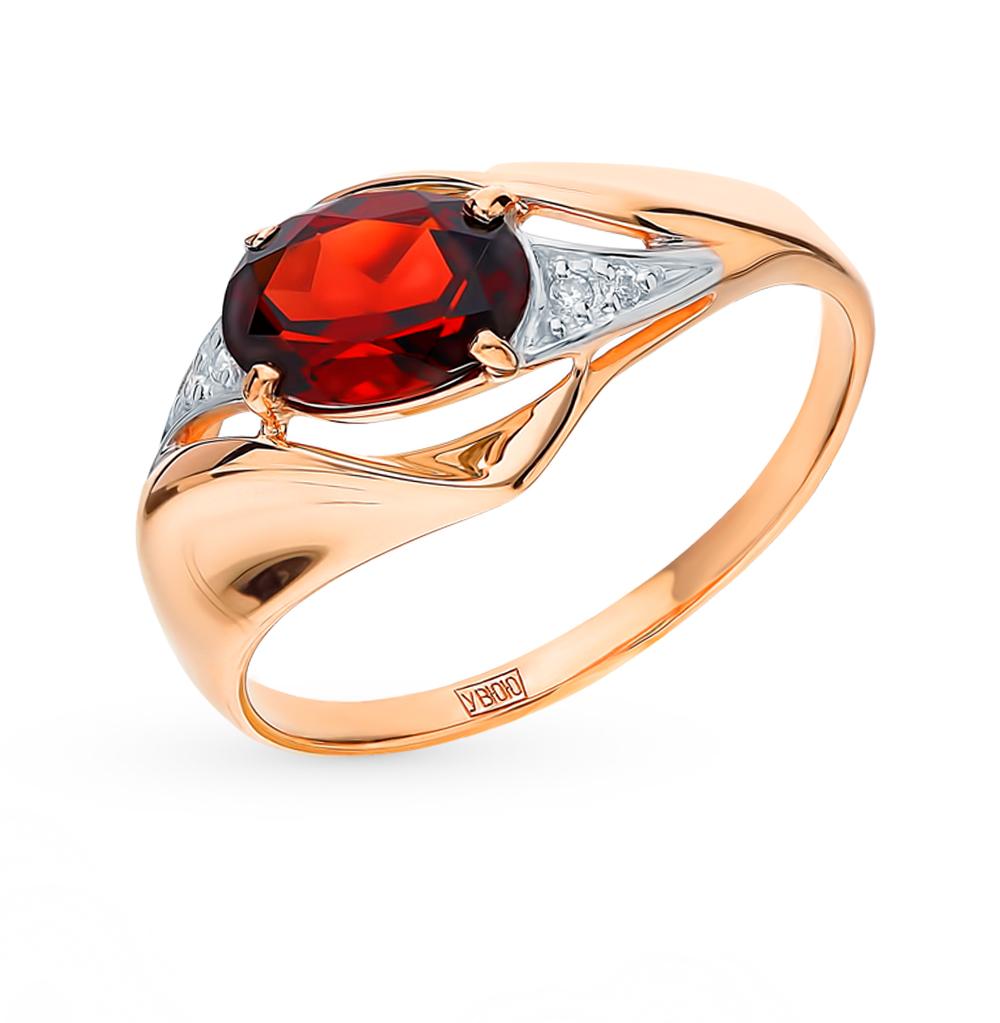 золотое кольцо с фианитами и гранатом SOKOLOV 715266*