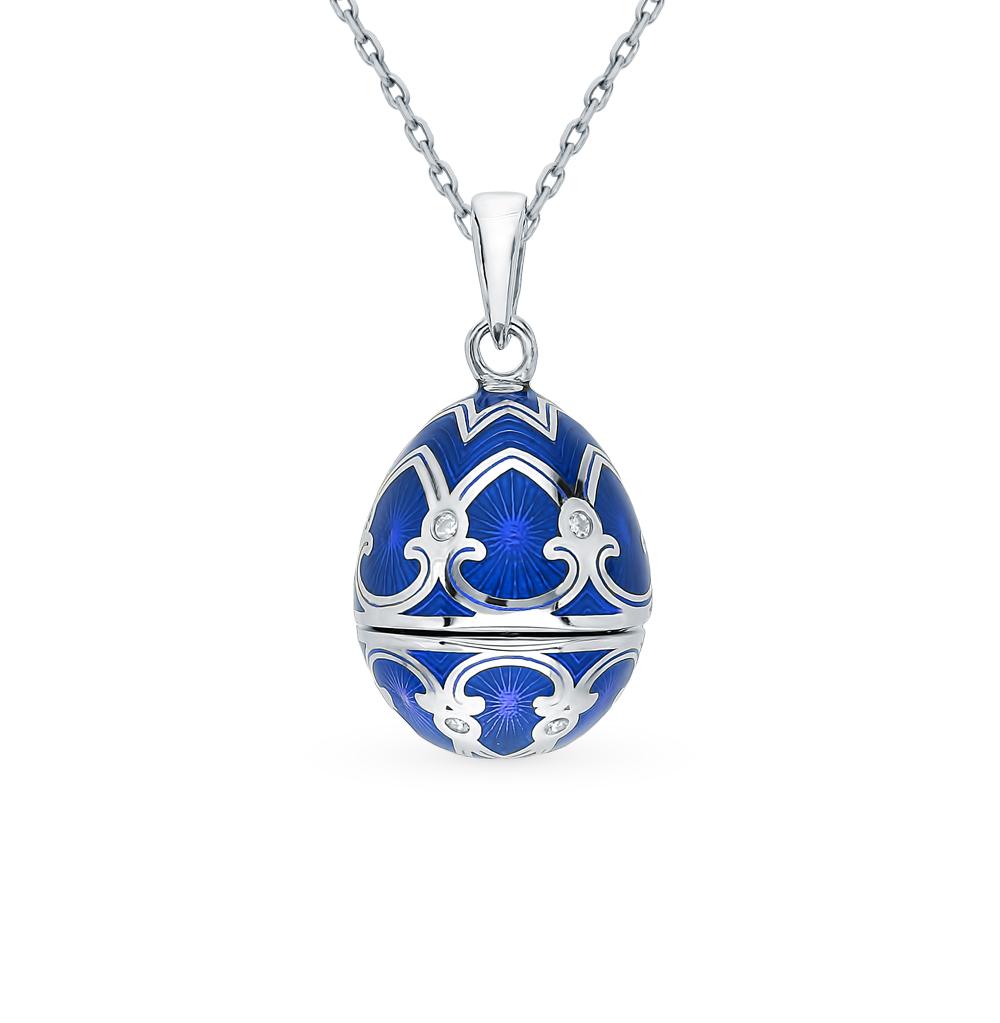 Фото «Серебряное шейное украшение с фианитами, эмалью и бриллиантами»