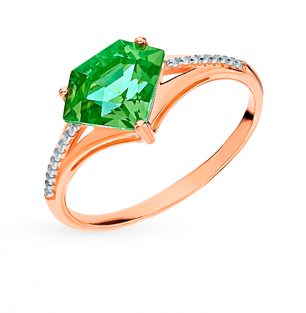 Золотое кольцо с фианитами и ситаллами SOKOLOV 715421* в Екатеринбурге