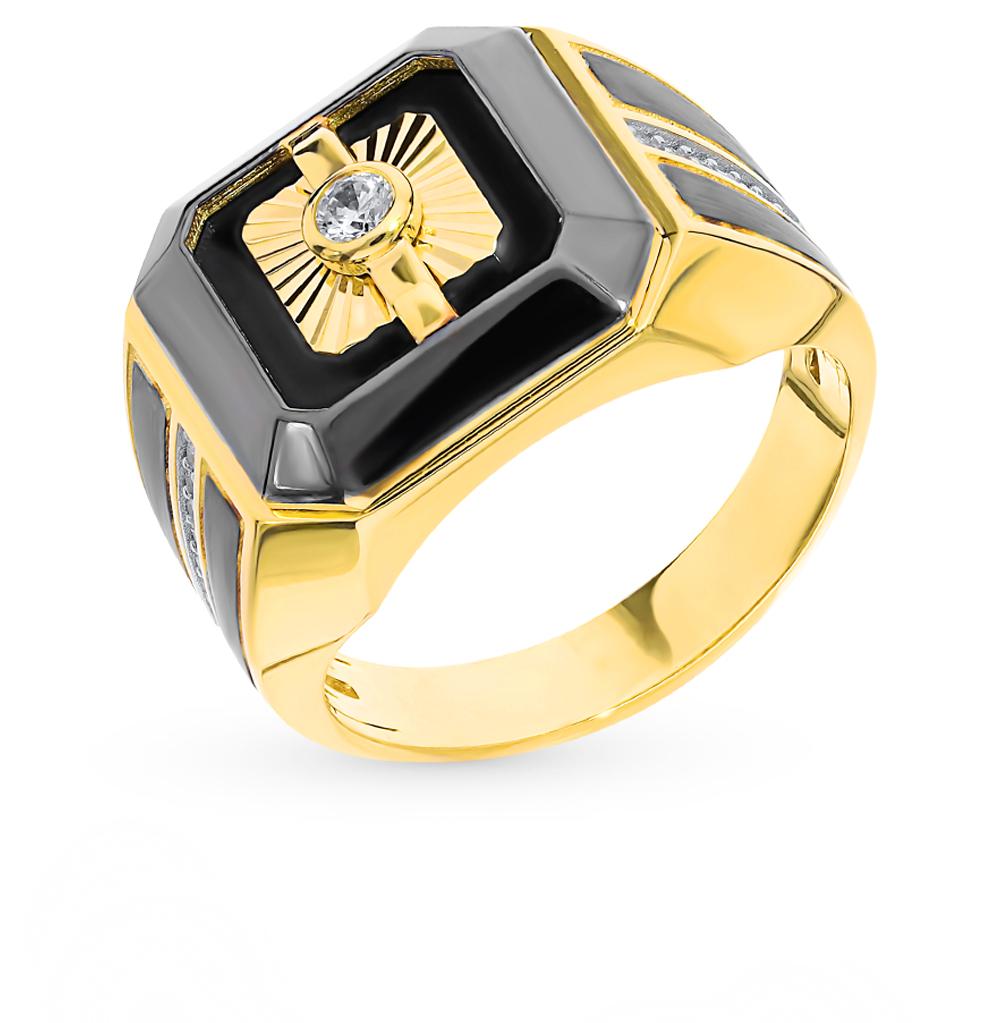 Золотое кольцо с ониксом и фианитами в Екатеринбурге
