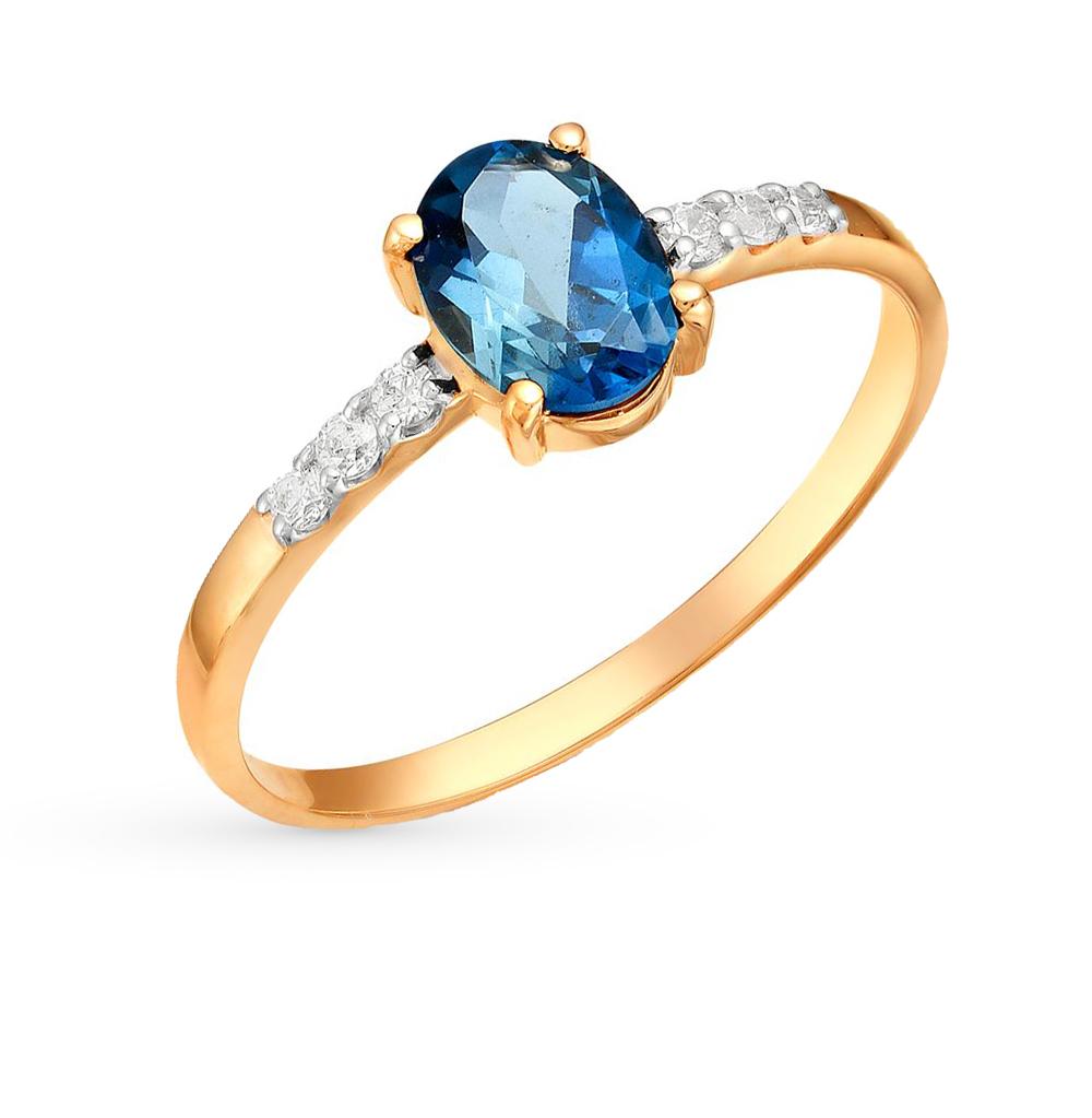 Золотое кольцо с топазами и фианитами от SUNLIGHT