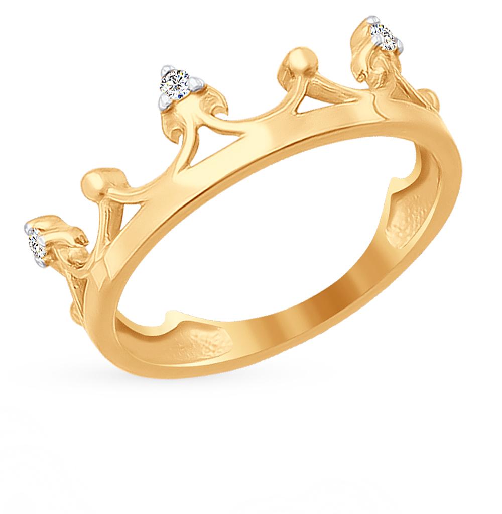 золотое кольцо с фианитами SOKOLOV 016779*
