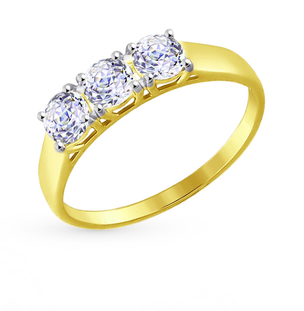 золотое кольцо с фианитами SOKOLOV 81010279-2*
