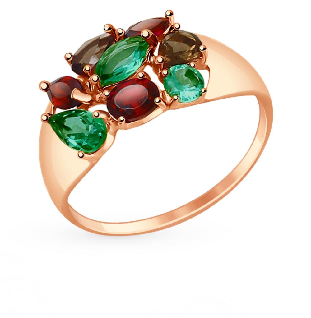 золотое кольцо с раухтопазами и гранатом SOKOLOV 714679*
