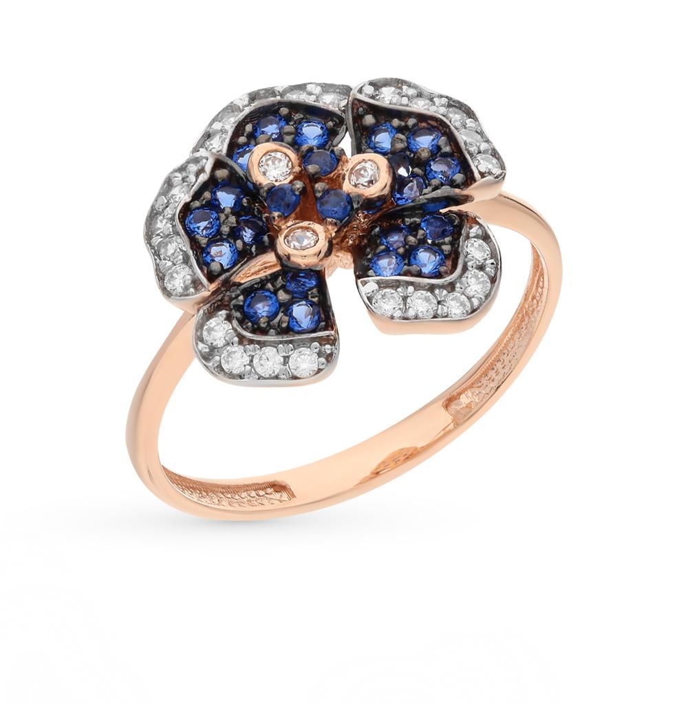 Золотое кольцо с нанокристаллами и фианитами в Екатеринбурге