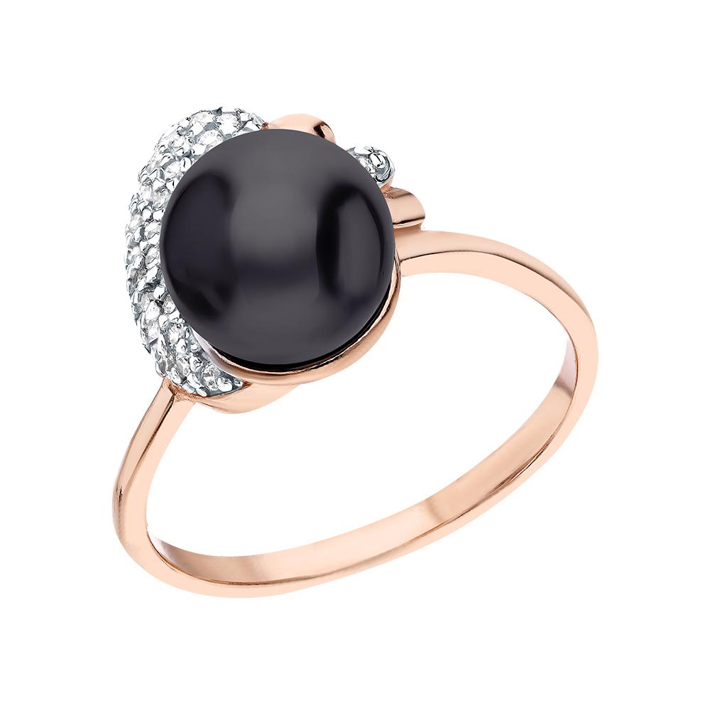 Серебряное кольцо с жемчугами имитациями и кубическими циркониями в Екатеринбурге