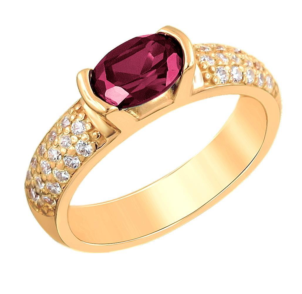 серебряное кольцо с корундом и фианитами